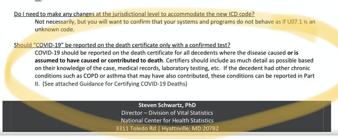 The US Gov. Health Statistics Agency Directs Hospitals to Confirm Suspected COVID-19 Deaths As Confirmed