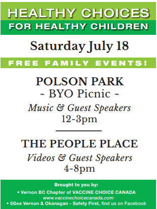 EVENT: Healthy Choices For Healthy Children, Sat. July 18th, Vernon, B.C.